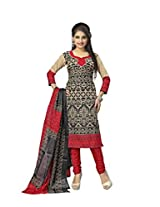 Vaamsi Women's Faux Cotton Salwar Suit Dress Material (Deep1030_Red_Free Size)