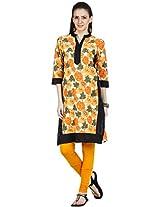 Zovi Womens Cotton A-Line Kurta (105895230010S _Orange _Small)
