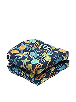Pillow Perfect Set of 2 Indoor/Outdoor Seapoint Neptune Wicker Seat Cushions, Blue