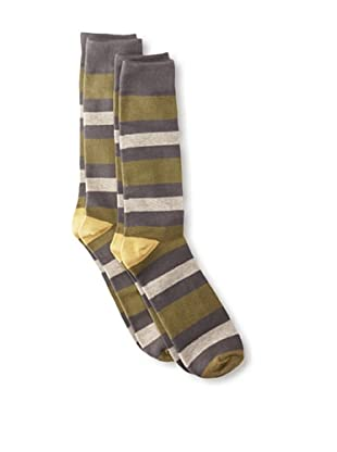 Florsheim by Duckie Brown Men's Striped Socks, 2-pack (Charcoal)