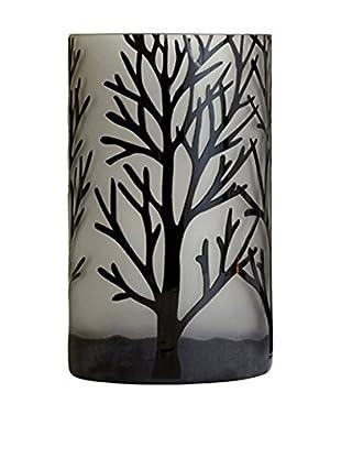 Torre & Tagus Medium Etched Tree Glass Vase, Black