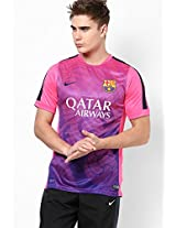 Pink Barcelona Soccer Round Neck T-Shirt