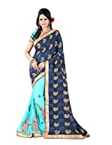 Khushali Women's Embroidered Georgette Saree With Fancy Fabric Pallu And Unstitched Blouse Pice (Sky Blue)