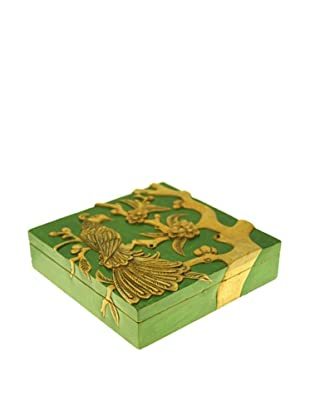 The Niger Bend Square Soapstone Box with Phoenix in Tree Design