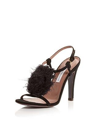 L'autre Chose Women's T-Strap Sandal (Nero)