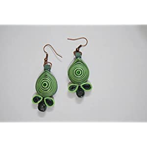 Quillings by SSE - Green Hangings Earring