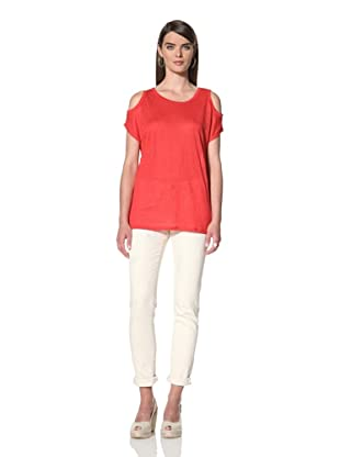 Acrobat Women's Cold Shoulder Knit Top (Red)