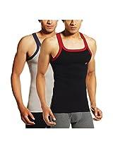 ONN NS521 Men's Assorted Color Cotton Sports Vest Pack of 2 (Medium)