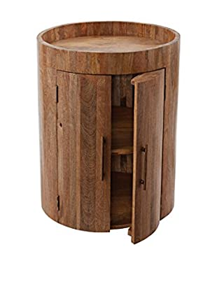 Artistic Lighting Drum Bar Table, Natural Mango