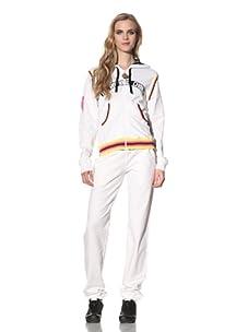 Just Cavalli Women's Zip-Up Hoodie with Striped Trim (White)