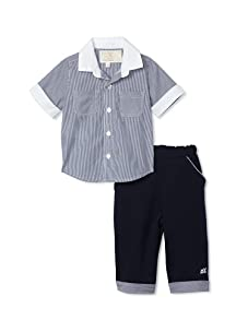 Emile et Rose Baby Boy's Two-Piece Striped Woven Shirt and Trousers (Navy)