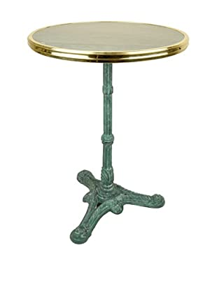 Bonnecaze Absinthe & Cuisine French Marble and Iron Bistro Table, Green Marble