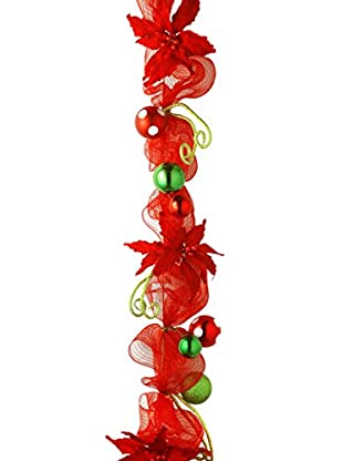 National Tree Company 6' Decorative Collection Red Ribbon Garland