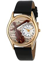 Whimsical Watches Kids' C0510002 Classic Gold Violin Black Leather And Goldtone Watch