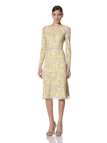 Jonathan Saunders Women's Ariel Long Sleeve A-Line Dress (Stone/Lemon)