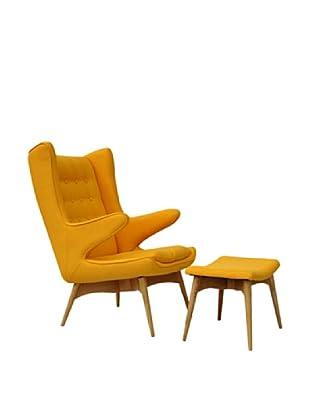 International Design USA Moderno Mid Century-Inspired Chair & Ottoman Set, Yellow