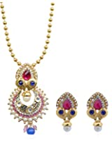 Royal Bling 14 k yellow gold platingOccult Pearl Drop Pink-blue Jewlellery pendant set for women