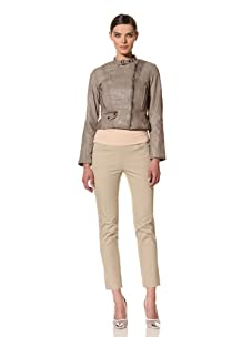 Andrew Marc Women's Gisele Asymmetrical Leather Jacket (Stone)