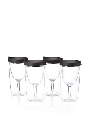 AdNArt Set of 4 Vino 2 Go Cups (Black)