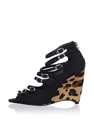 Schutz Women's Leopard Wedge (Black)