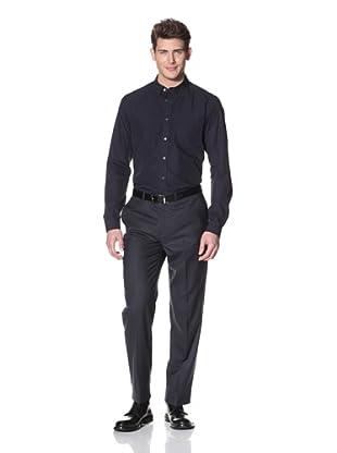 Hart Schaffner Marx Men's Checked Flat Front Trouser (Navy)