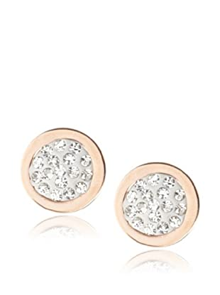 Chloe Collection By Liv Oliver Rose Round Crystal Disc Earrings