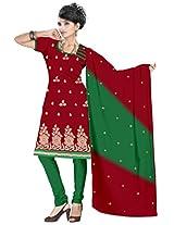 vardhman Maroon Chanderi Straight Dupata Work Dressmaterial Suit.