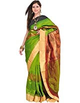 Exotic India Peridot-Green Saree from Bangalore with Woven Paisleys and - Green