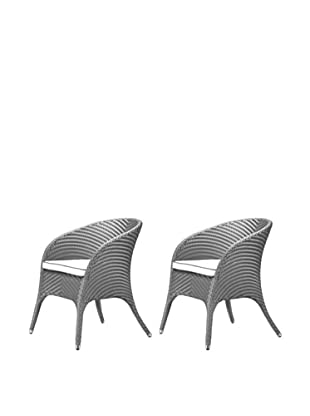 100 Essentials Set of 2 Flora All-Weather Dining Armchairs, Jetson/Natural