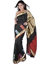 Black Banarasi Handloom Sari with Woven Flowers on Border and Brocaded Aanchal
