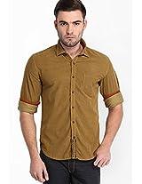 Solid Khaki Casual Shirt Locomotive