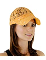 Lace Glitter Sequin Baseball Caps in 14 Colors Hat Colors: Peach