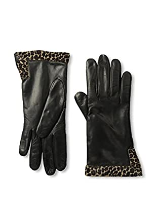Portolano Women's Cashmere-Lined Leather Glove with Haircalf Trim (Black/Mini Leopard)