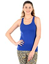Blue Solid Camisole Slip For Women's XL