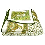 Mebelkart Jaipuri Hand Made Block Print Double Bed Quilts green