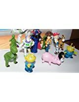 Disney Toy Story Deluxe Mini Figure Set of 12 with Buzz, Woody, Wheezy, Aliens, Soliders and More!