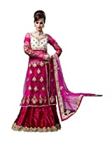 Anvi Creations Bridal Embroidered Net Lehenga Choli (Deep Pink Hot Pink_Free Size)