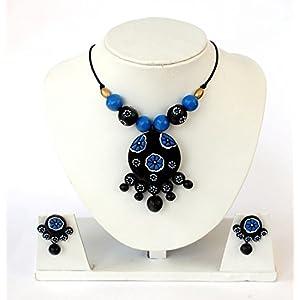 Anikalan Designs Black Waterdrops Pendant Terracotta Necklace Set