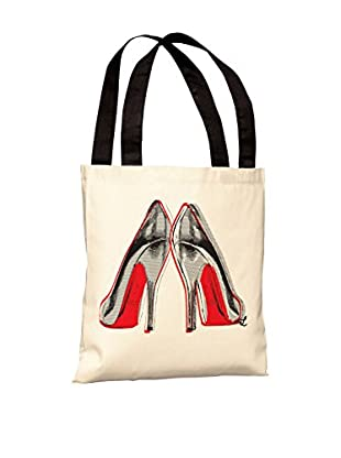 Oliver Gal Fire In Your New Shoes Tote Bag, White/Black/Red