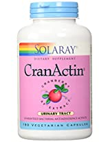 CranActin Cranberry Extract No Alcohol Solaray 180 VCaps