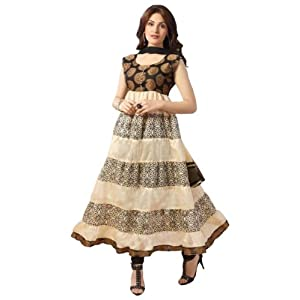Designer Cream and Black Long Anarkali Dress