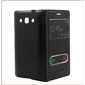 Flip Flap Leather Cover Case For Samsung Galaxy Grand Quattro, Galaxy Win I8552 Sview black