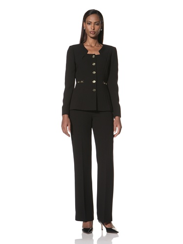 Tahari by A.S.L. Women's Jacket with Gold Buttons and Pant (Black)