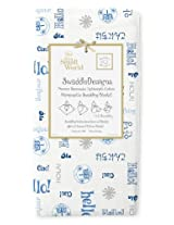 SwaddleDesigns Marquisette Swaddling Blanket, Disney It's a Small World, Hello in True Blue (Discontinued by Manufacturer)