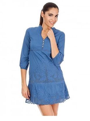 Cortefiel Kleid bestickt (Blau)