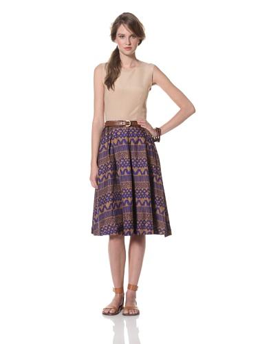 Whit Women's Pueblo Print Swizzle Skirt (Cobalt/Brown)