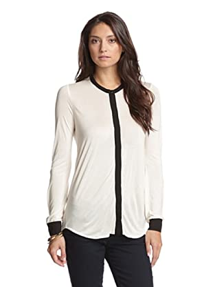 Bella Luxx Women's Top with Contrast Trim (Cream/Black)