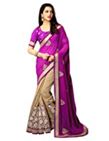 Shoppingover Heavy Embroidery Viscose Saree in Beige with Purple Color