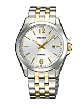 Orient Men White Dial Silver & Gold Metal Strap Round Shape, Made in Japan