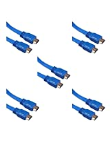 (5 Pack) Storite Super FLAT HDMI Male to HDMI Male Cable TV Lead 1.4V High Speed Ethernet 3D Full HD 1080p - Support All HDMI Devices (1.5M - 150 cm - 4.5 Foot) (Blue)